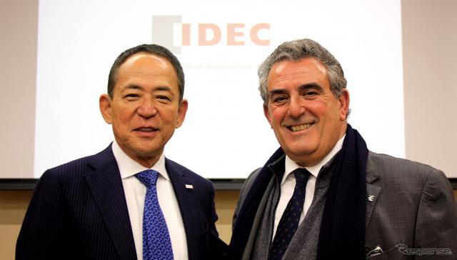 IDEC 舩木俊之 代表取締役会長兼社長とワイドミュラー ホセ・カルロス・アルバレス・トバルCSMO《撮影 大野雅人(Gazin Airlines)》