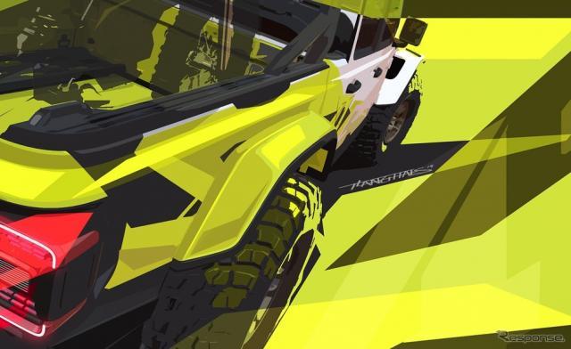 ジープ・グラディエーターのカスタマイズコンセプトカーのティザースケッチ