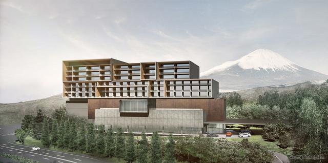 富士スピードウェイ内に建設されるホテル外観イメージ