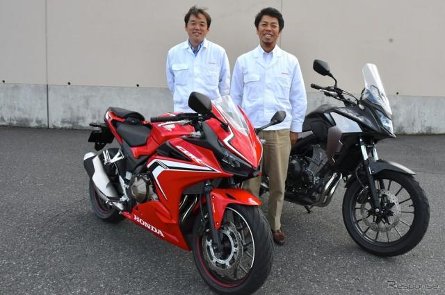 ホンダ CBR400R 新型の魅力を語ってくれた井上善裕氏(左)と古川和朗氏(右)撮影 青木タカオ