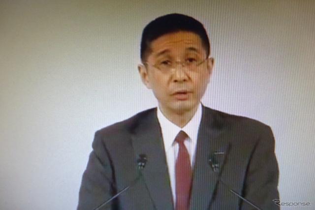 臨時株主総会の西川廣人社長 (ライブストリーミング映像から)《撮影 池原照雄》