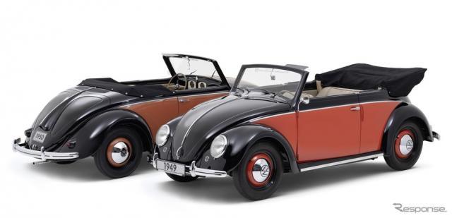 フォルクスワーゲン1100ヘブミュラーカブリオレ(1950年)と1100カルマンカブリオレ(1949年)