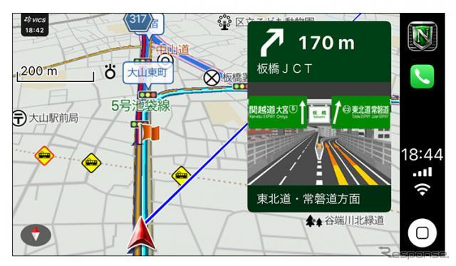 カーナビタイムのApple CarPlay対応イメージ(ジャンクション案内)