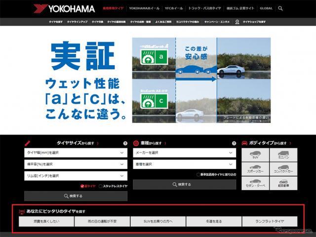 横浜ゴムの乗用車用タイヤサイト