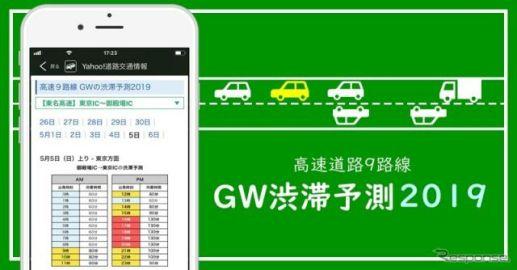 GW10連休の高速道路渋滞予測、Yahoo!カーナビが公開