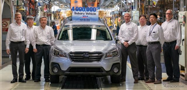 スバル オブ インディアナ オートモーティブからスバルの米国生産400万台目となったアウトバックがラインオフ