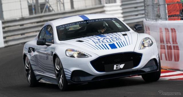 モナコ市街地コースで初走行を披露したアストンマーティン・ラピードE