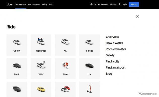 ウーバーの公式サイト