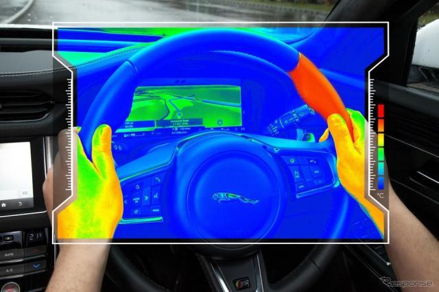 ジャガー・ランドローバーが開発したハンドルの温度差で右左折を知らせる安全装置《photo by Jaguar Land Rover》