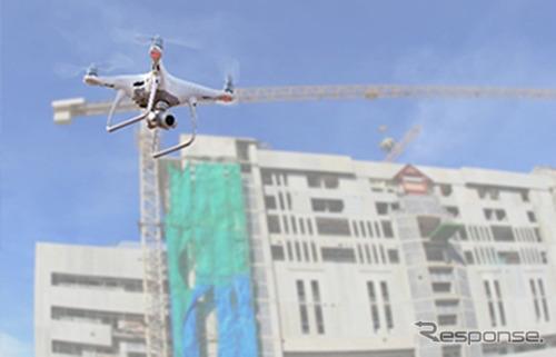 鹿島建設、ドローンの自動制御を用いた建設現場管理《写真 ソフトバンク》