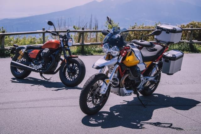 Moto Guzzi V85 TT(右)とV9 Bobber Sport《写真 ピアッジオ グループ ジャパン》