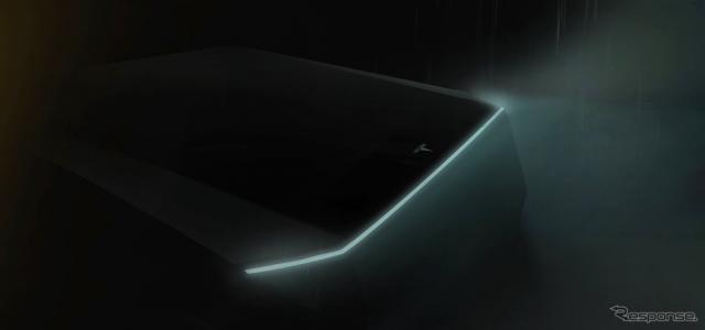 テスラの電動ピックアップトラックのティザーイメージ《photo by Tesla》
