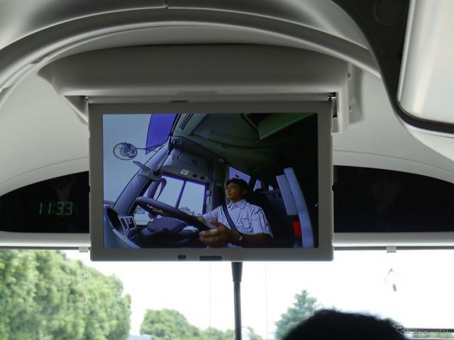 EDSS実験中:車内モニターはドライバーの状態《撮影 中尾真二》
