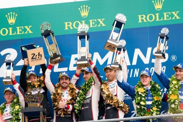 ル・マン24時間レース優勝 TOYOTA GAZOO Racing 8号車(左からフェルナンド・アロンソ選手、セバスチャン・ブエミ選手、中嶋一貴選手)《画像:富士スピードウェイ》