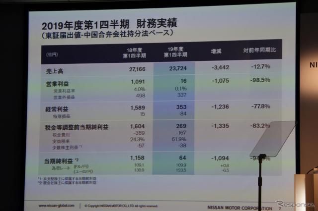 日産自動車 2019年度第1四半期決算 会見《撮影 小松哲也》