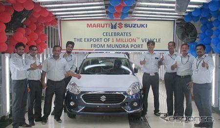 スズキ、インド最大の輸出拠点から100万台目を出荷… スイフト の4ドアセダン