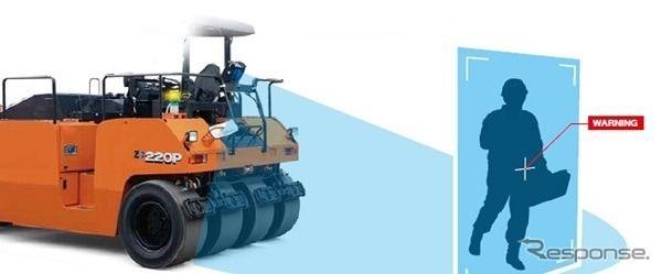タイヤローラにも先進安全技術、衝突被害軽減アシスト装置をオプション設定 日立建機