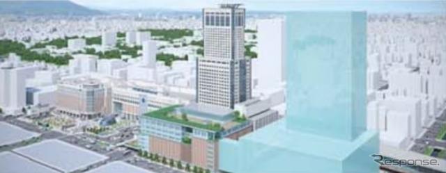 札幌駅新幹線口開発のイメージ。現在のJRタワーに隣接する形で新タワービルが建てられ、JRタワーのリニューアルや札幌駅の「エキナカ」開発なども行なわれる。《出典 北海道旅客鉄道》