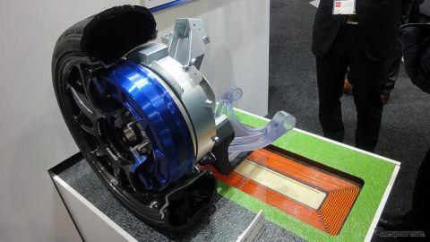 走行中にワイヤレス給電可能、ロームのインホイールモーター…オートモーティブワールド2020