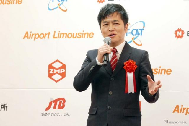 実証実験開催のセレモニーで阿智札するZMPの代表取締役社長 谷口 恒氏