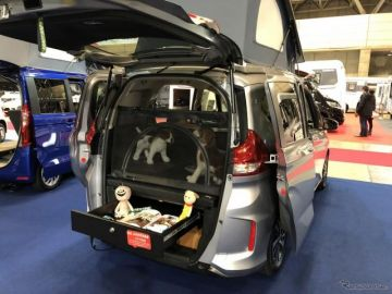「フリード+ ドッグラバー」は、コンパクトボディに愛犬おもいの装備を搭載…ジャパンキャンピングカーショー2020