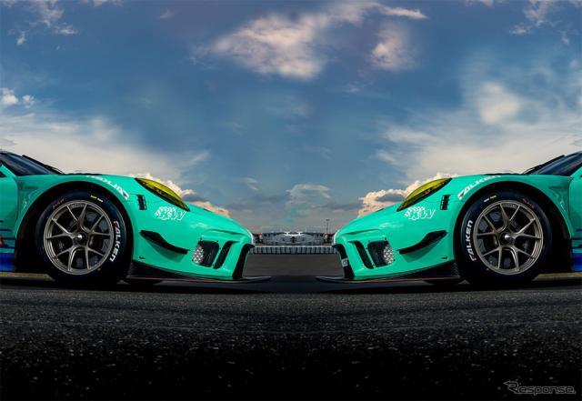 ファルケンカラーのポルシェ 911 GT3R《画像:住友ゴム》