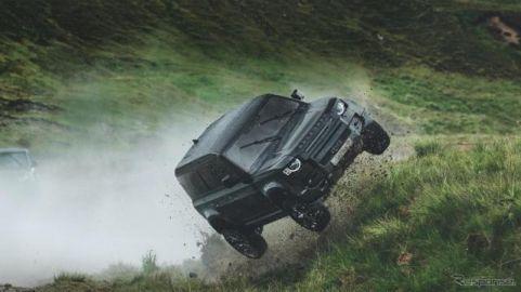 ランドローバー ディフェンダー 新型、映画『007』最新作で宙を舞う