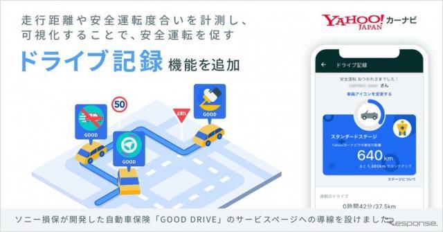 Yahoo!カーナビに新たに追加された、継続的な安全運転を促す「DRIVE機能」
