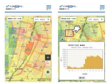 ドコモ地図ナビ、「混雑度マップ」の無料提供を期間限定で開始