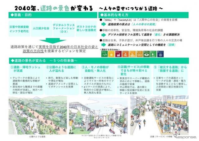 政策提言「2040年 道路の景色が変わる」の概要《画像 国土交通省》