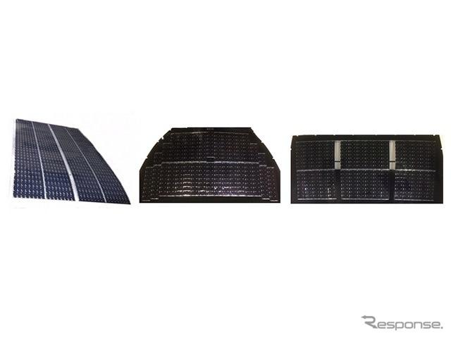 複数の太陽電池セルにより構成された太陽電池パネル(左からルーフ、フード、バックドア)《写真提供 NEDO》