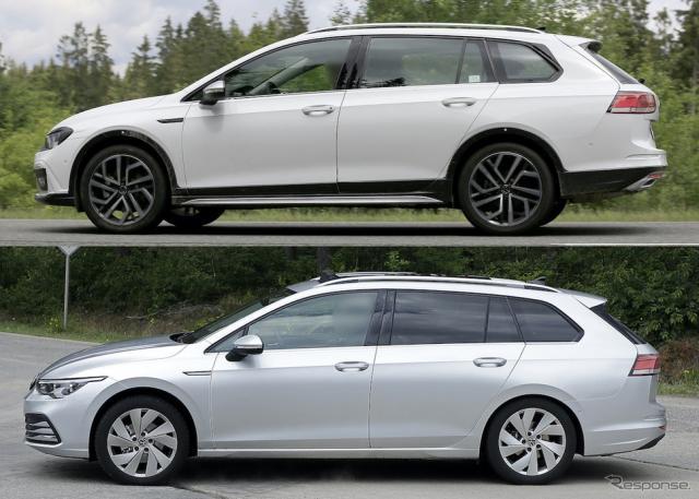 VW ゴルフオールトラック 新型(上)とゴルフヴァリアント 新型(下)のプロトタイプ《APOLLO NEWS SERVICE》