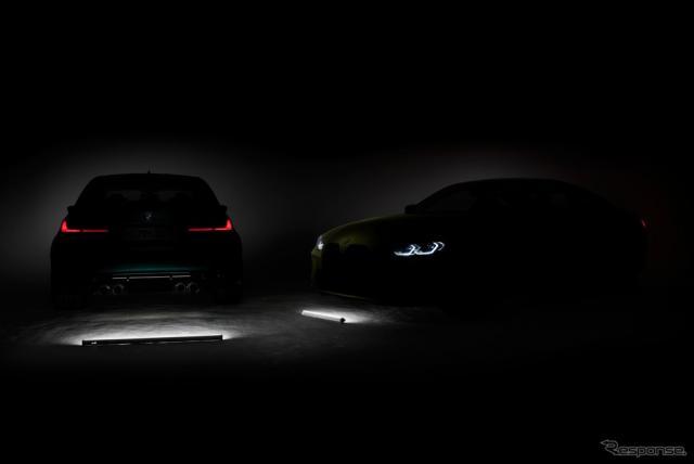BMW M3 セダン 新型と M4 クーペ 新型のティザーイメージ《photo by BMW》