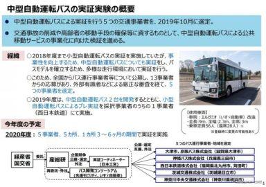中型自動運転バスの公道実証試験を開始 滋賀県大津市と兵庫県三田市