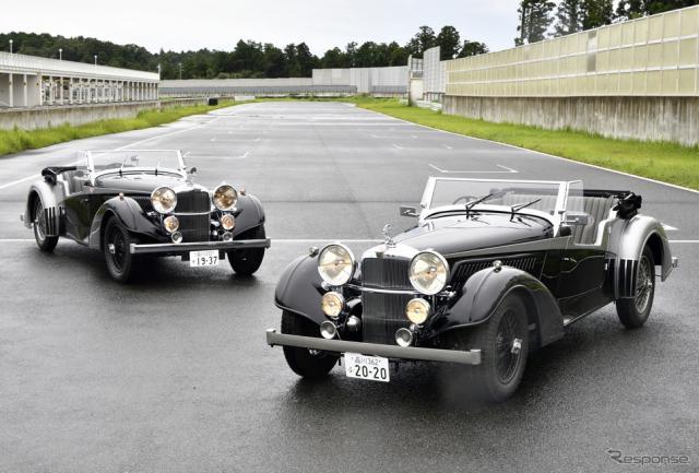 アルヴィスのコンティニュエーションシリーズ『4.3リッター・バンデン・プラ・ツアラー』(右)と1937年当時の車両《写真撮影 雪岡直樹》