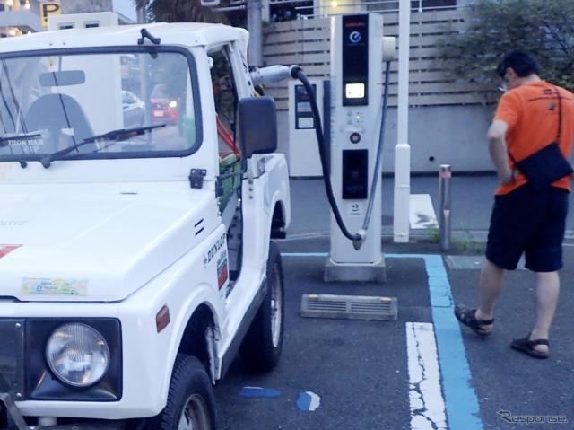 2020年7月12日18時58分、クロカン四駆の電気自動車が、日本で初めてCHAdeMO急速充電器からの充電に成功した瞬間。《写真提供 ZEVEX》