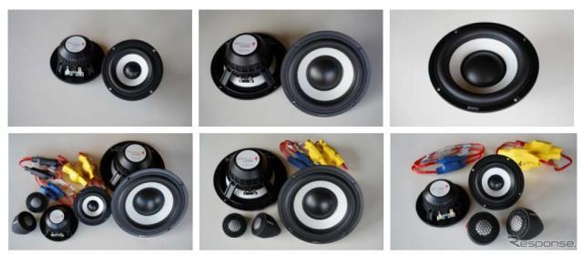 上段左から8.8cmミッドレンジ「L-88RS」、16.5cmウーファー「L-165RS」、16.5cmウーファー「L-165RW」。下段左から16.5cmセパレート3ウェイシステム「リファレンスAM トリオS」、16.5cmセパレート2ウェイシステム「リファレンスAM デュオ165S」、8.8cmセパレート2ウェイシステム「リファレンスAM デュオ88S」※画像は同縮尺ではない《写真提供 ビーウィズ》