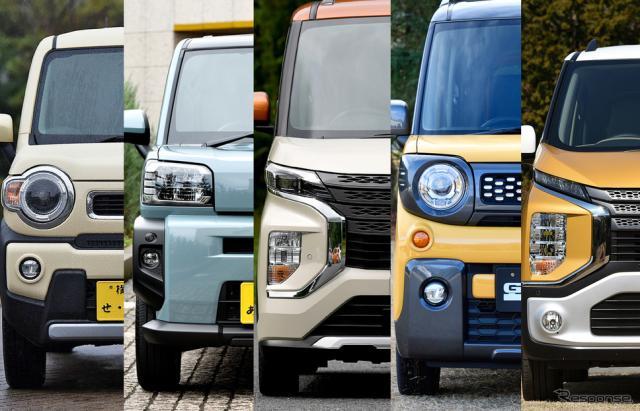 いま注目の「軽SUV」たち。左からハスラー、タフト、eKクロススペース、スペーシアギア、eKクロス