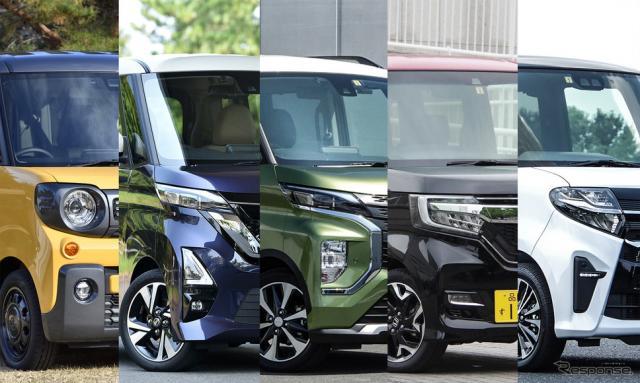今や国民車となった軽スーパーハイとワゴン5車種を比較。写真は左からスペーシアギア、ルークスハイウェイスター、eKクロススペース、N-BOXカスタム、タントカスタム