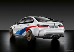 BMW M3 と M4 新型にMパフォーマンスパーツ、縦長グリルに匹敵するリアのインパクトを追求…欧州設定
