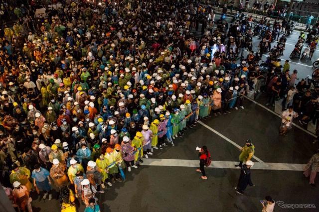 タイの反政府デモ《Photo by Lauren DeCicca/Getty Images News/ゲッティイメージズ》
