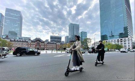 電動キックボードで公道走行…実証実験開始 政府認可、東京都心で