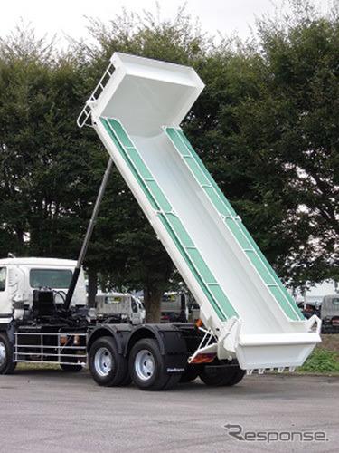 GVW22トン車級ダンプトラック新モデル(写真はオプション装備を含む)《写真提供 新明和工業》