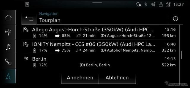 アウディ e-tron シリーズの「ルートプランナー」《photo by Audi》
