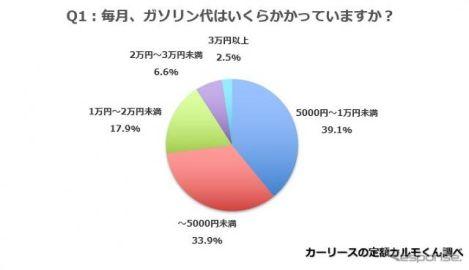 車の維持費、ガソリン・駐車場ともに月額1万円未満が過半数 定額カルモくん調べ