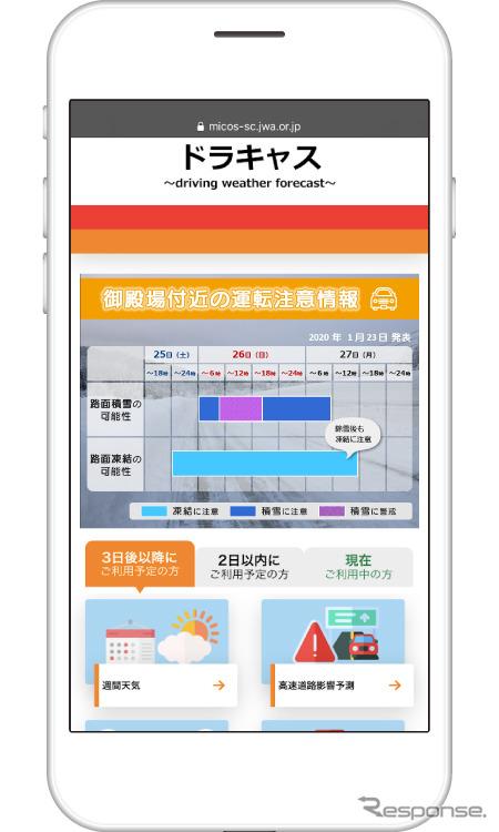 「ドラキャス」画面(イメージ)《図版提供 日本気象協会》