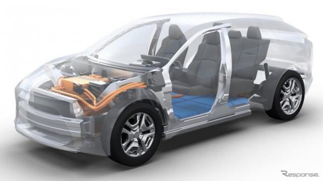 トヨタが欧州市場に投入する予定の新型電動SUV(フルEV)のティザーイメージ。この車台をスバルの新型EVと共有する《photo by Toyota》
