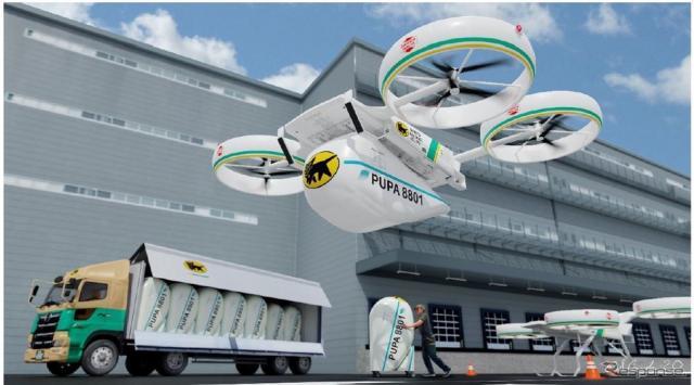 物流電動垂直離着陸機(物流eVTOL)のイメージ《画像提供 ヤマトホールディングス》
