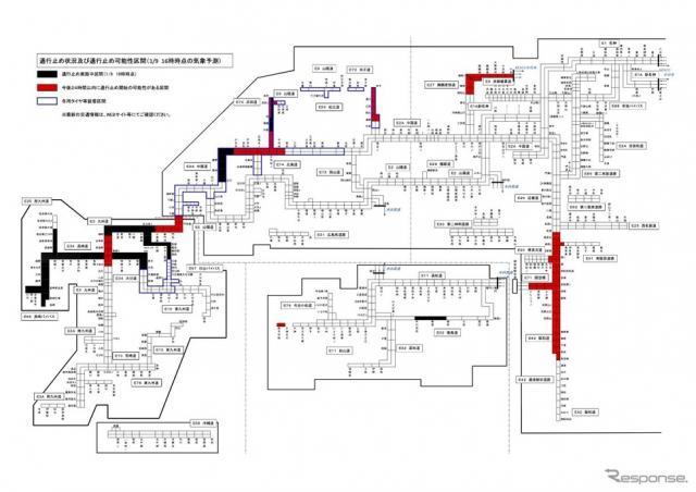 通行止め状況および通行止め可能性区間《資料提供 NEXCO西日本》