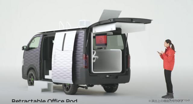 ケータイ操作でオフィス部分を引き出すことができる。《写真提供 日産自動車》
